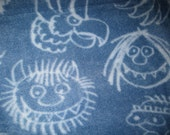 Where the Wild Things Are with Blue Handmade Fleece Blanket - Ready to Ship Now