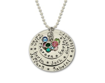 Personalize Necklace for Grandmother, Personalize Mother Necklace, Grandmother Necklace with Names Birthstones Silver