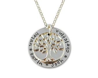 Personalized Family Tree Necklace - TREE OF LOVE Necklace - Hand Stamped Silver