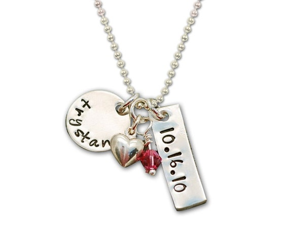 Personalized Hand Stamped  Proud Mommy Personalized Tags CHARM Necklace....Birthstone and Heart Silver