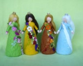 Needle Felted 4 SEASONAL FAIRIE QUEENS  Wool  Doll Angel Fairy Soft Sculpture Waldorf Inspired