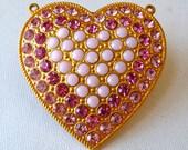 Large Pink Heart Pendant  - Pink Swarovski Rhinestones set in Gold Tone Metal