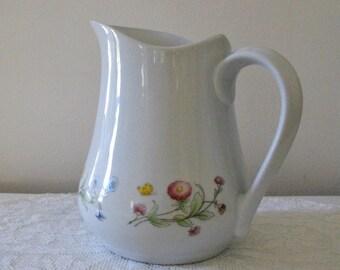 Vintage BIA Cordon Bleu Floral & Butterfly Pitcher - 38 Oz. Pitcher, White with Pastel Flowers - Cottage Chic Kitchen - Bobann23Kitchen