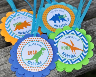 Dinosaur Party Favor Tags, Boys 1st Birthday, Dinosaur Theme Birthday Party Favor Tags, Dinosaur Birthday Party Decorations - Set of 12