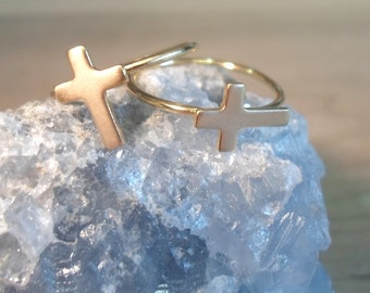 Cross ring, gold cross ring, gold stacking ring, stacking ring, knuckle ring, midi ring, toe ring, gold midi ring, gold above the knuckle