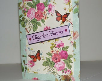 Together Forever handmade greeting card with light blue lining inside envelope, birthday card, anniversary card, I love you card,