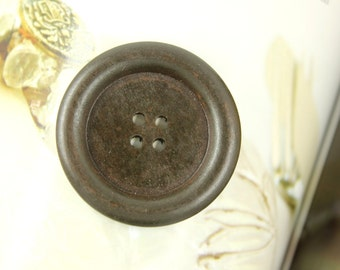 Wood Buttons - Classy Thick Border Recessed Center Dark Brown Wooden Buttons, 1.47 inch (10 in a set)