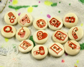 Wooden Buttons - Mix and Match Love Message 14 Wooden Buttons. 0.59 inch