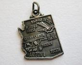 Vintage 50s Sterling Silver Arizona State Souvenir Map Bracelet Charm
