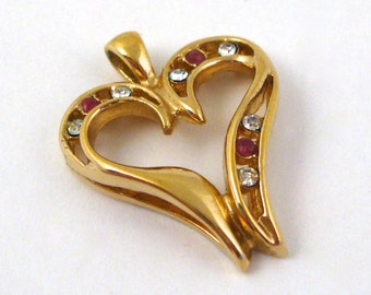 Vintage 14K Gold Plate Jeweled Heart Shaped Sweetheart Necklace Pendant