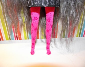 Pink with dark pink flowers leggins tights for Pullip doll