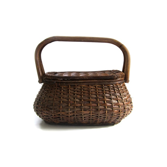 Wicker Baskets With Handles And Lid : Vintage large wicker basket with spring hinge lid and bamboo
