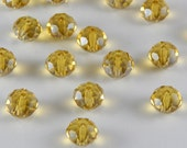 Glass Jewelry Beads - 8mm Faceted Rondelles, Citrine Yellow Color, 1mm Hole Size, 20 Pieces