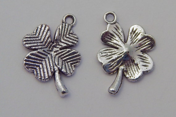 Metal Jewelry Charm - Four Leaf Clover, 4 Leaf Clover, Plant,  Silver Color, 15mm, 10 Pieces