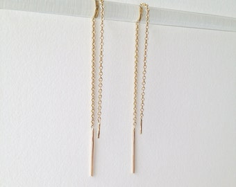 solid gold threader earrings. 14k yellow or white gold. delicate chain. very dainty • • dany ear threads