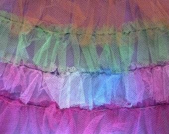 Satin Circle Skirt Rainbow Tulle Details Mid Century Swing Dance Costume Burning Man