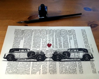 White Oldtimer Love Valentine Wedding  Anniversary Engagement Gift Personalized Art Print on Antique 1896 Dictionary Book Page