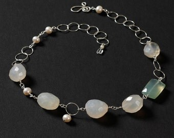 January Thaw necklace: Sterling silver, white and soft blue green chalcedony nuggets