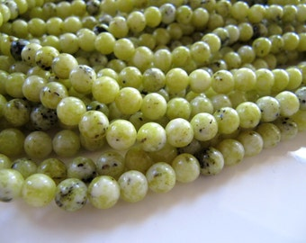 6mm Yellow Turquoise Beads in Olive Green and Gray, 1 Strand, 64 Beads, Round, Smooth, Jasper Serpentine Beads