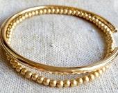 Gold Stacking Bangle Bracelet - Gold Filled Bracelets - Gold Bangle Bracelet - Gold Beaded Bracelet - Handmade - VenexiaJewelry