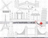World Landmarks Line Art (Set 01) Digital Clip Art Set: Empire State Eiffel Tower London Bridge Taj Mahal Leaning Pisa Windmill Travel