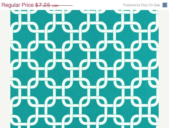 Closing Shop SALE Home Decor Fabric Yardage- Geometric Lattice - True Turquoise and White - 1 Yard