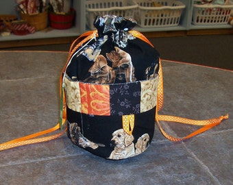 Handmade One of a Kind   Dogs  Ditty Bag...Drawstring Tote Bag Great for Knitting, Bingo, Sewing