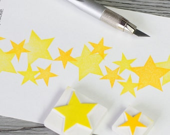star rubber stamp, star stamp, twinkle stamp, handmade stamp, galaxy stamp, shooting star stamp, astronomy stamp, hand carved rubber stamp