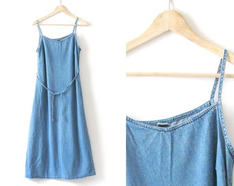 Blue denim slip long dress - 1990