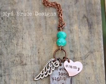 never lose sight of your dreams - with personalized copper heart and beautiful teal crystal beads and silver wing pendant