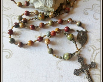 Large Bronze Sacred Heart of Jesus Catholic Rosary in Red Creek Jasper Gemstone