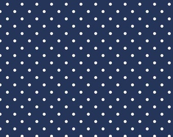 Swiss Dots White on Navy for Riley Blake, 1/2 yard