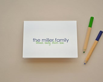 Personalized Family Note Card Set - Choose Your Colors