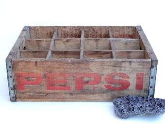 Vintage PEPSI Wood Crate Shelf Box with Metal Straps , Pepsi Wood Box