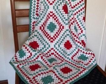 Christmas granny square baby blanket