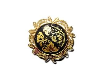 Vintage Damascene Brooch of Gold and Black Enamel- 1940 Vintage - Toledo Spain