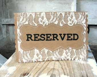 Burlap & Lace Wedding Table Card RESERVED Place Holder, Rustic Country Woodland Table Sign