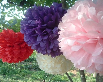 10 Tissue paper pom poms, Wedding decorations, Baby, Bridal shower, Rehearsal, Party decorations. Hanging pom poms. Hanging flower ball