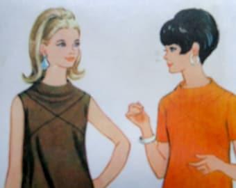 60s Mod Dress Pattern McCalls 8851 Size 11 Shift Dress w Scoop Back Bodice Seam Dress UNCUT