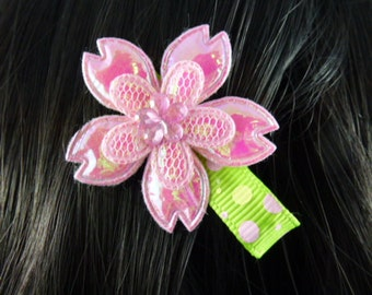 NEW - Iridescent Pink and Green Flower Hair Clip, Hair Accessory, Hair Bow - HM139