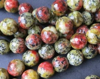 Multi color Jade 10mm round beads, Beige Red with Black Dots
