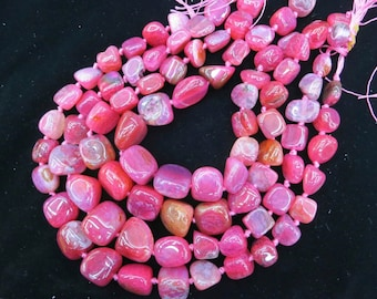 Hot Pink Fuchsia Agate nugget beads 15x20-8x12mm- 22pcs/strand