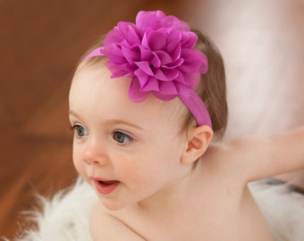 Fuschia baby headband, fuschia baby headband,  infant headband, newborn headband, fuschia chiffon flower headband, photo prop,