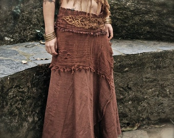 Brown Earthy Long wrap skirt with Embroidery made of cotton Eco friendly adjustable size