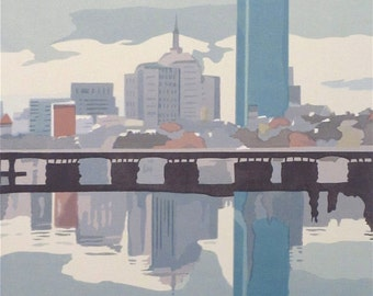 Boston in the Mists, limited edition serigraph