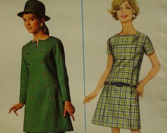 "1960s Panel Dress Pattern, Semi-Fitted, Yoke Front, Short/Long Sleeves, Low Waist, Slit Neck, Mini Dress Butterick No. 4597 Size 8 Bust 31"""