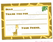 PRINTABLE Giraffe Fill-in-the-Blank Thank You Cards (Boy or Girl) #531