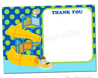 PRINTABLE Boy Waterpark Thank You Cards #598