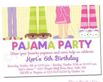 PRINTABLE Girl Pajama Party Invitations #563