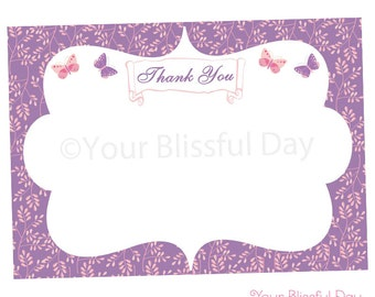PRINTABLE Enchanted Butterfly Thank You Cards #526